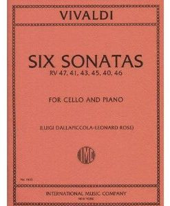 Vivaldi Antonio Six Sonatas F. XIV Nos. 1-6. For Cello and Piano. by Leonard Rose. International